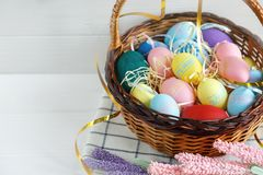 Cheerful, bright, sunny and colorful Easter decorations for home. Everything is ready to celebrate: eggs, basket stock images