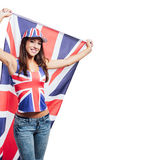 Cheerful British girl with a flag Royalty Free Stock Photography