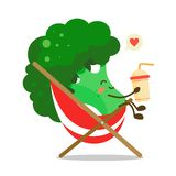 Cheerful broccoli cabbage is resting in a hammock chair with a drink in hand. Vector illustration in kawaii style on white backgro. Cheerful broccoli cabbage is stock illustration