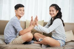 Playing siblings royalty free stock images