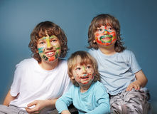Cheerful brothers with painted faces Stock Photo