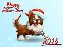 Card Border Collie on light blue. The cheerful brown puppy of a Border Collie wish red cap and letteing Happy New Year 2018. A cartoon vector illustration on Stock Images