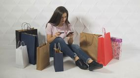 Cheerful Girl Pays Online stock footage