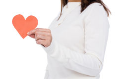Cheerful brunette holding paper heart Royalty Free Stock Photos