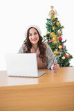 Cheerful brunette shopping online with laptop Stock Images