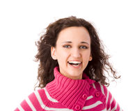 Cheerful brunette woman. Laughing isolated Royalty Free Stock Photo