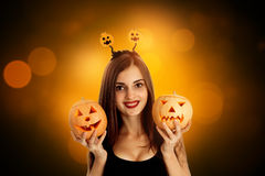 Cheerful brunette woman in halloween style Stock Photo