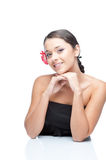 Cheerful brunette woman Royalty Free Stock Images