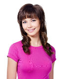 Cheerful brunette woman in rose T-shirt Royalty Free Stock Image