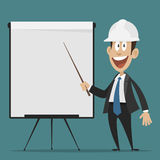Cheerful builder points to flipchart Stock Photo