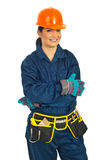 Cheerful builder woman Stock Images