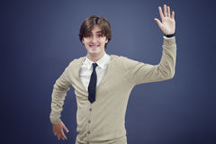 Cheerful business man with arms raised in success isolated on white background.  Royalty Free Stock Photos