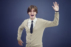 Cheerful business man with arms raised in success isolated on white background.  Royalty Free Stock Photography