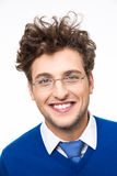 Cheerful business man with curly hair and glasses Stock Photo