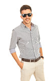 Cheerful business man with sunglasses Royalty Free Stock Photo