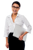 Cheerful business mananger posing with laptop Royalty Free Stock Photos
