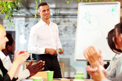 Cheerful business people applauding. In a meeting. Business concept Royalty Free Stock Photo