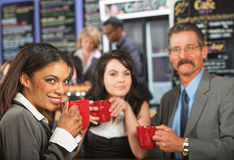 Cheerful Business People in Cafe Stock Photography