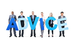 Cheerful Business People Holding the Word Advice Stock Photography