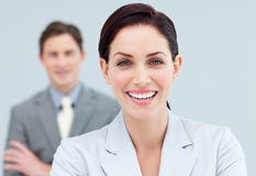 Cheerful business people standing in a row Stock Photos