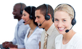Cheerful business team with headset on Stock Photography