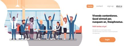 Cheerful business team sitting together people group successful teamwork concept man woman raised hands modern office. Horizontal banner flat copy space vector vector illustration