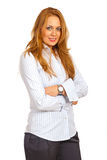 Cheerful business woman with hands crossed Royalty Free Stock Images