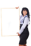 Cheerful business woman holding banner stock photos