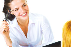 Cheerful business woman isolated Stock Image