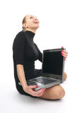 Cheerful business woman with laptop stock photos