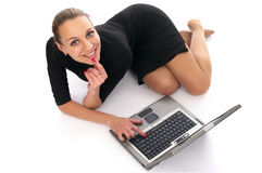 Cheerful business woman with laptop Royalty Free Stock Photo