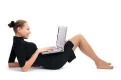 Cheerful business woman with laptop Royalty Free Stock Photos