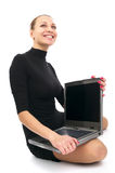Cheerful business woman with laptop Royalty Free Stock Photography