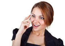Cheerful business woman said by mobile phone Stock Photography