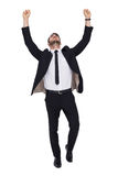 Cheerful businessman with arms up cheering. On white background Stock Photography