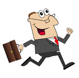 Cheerful businessman with briefcase running to work Royalty Free Stock Image