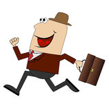 Cheerful businessman with briefcase running to work Royalty Free Stock Images