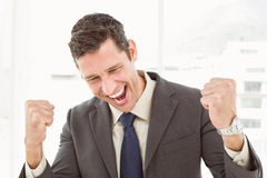 Cheerful businessman cheering in office Royalty Free Stock Images