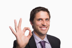Cheerful businessman gesturing okay sign Stock Image