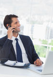 Cheerful businessman having a phone call Stock Image