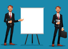Bearded businessman showing at a whiteboard or holding a tablet Stock Photos
