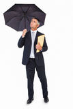 Cheerful businessman holding a file under umbrella Stock Photography