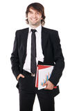 Cheerful businessman with a papers and folders Stock Images