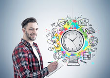Cheerful businessman with planner, time management Royalty Free Stock Photography