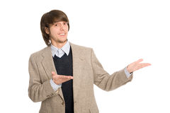 Cheerful businessman pointing hands Stock Photo