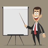Cheerful businessman points to flipchart Stock Photos