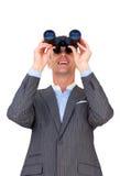 Cheerful businessman predicting future sales Royalty Free Stock Photos