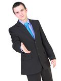 Cheerful businessman ready for handshake. Isolated Royalty Free Stock Images