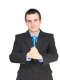 Cheerful businessman ready for handshake. Isolated Royalty Free Stock Photography