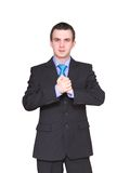 Cheerful businessman ready for handshake. Isolated Stock Images